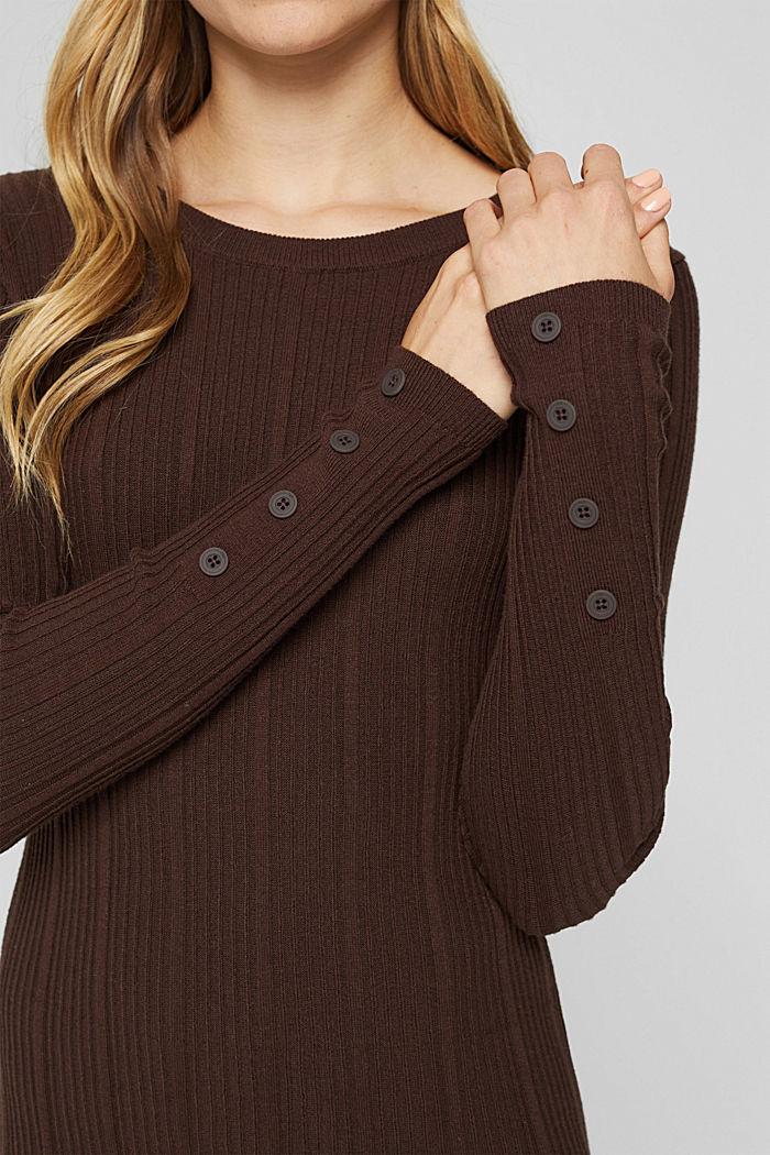 Robe cintrée en maille côtelée, 100% coton, BROWN, detail image number 3