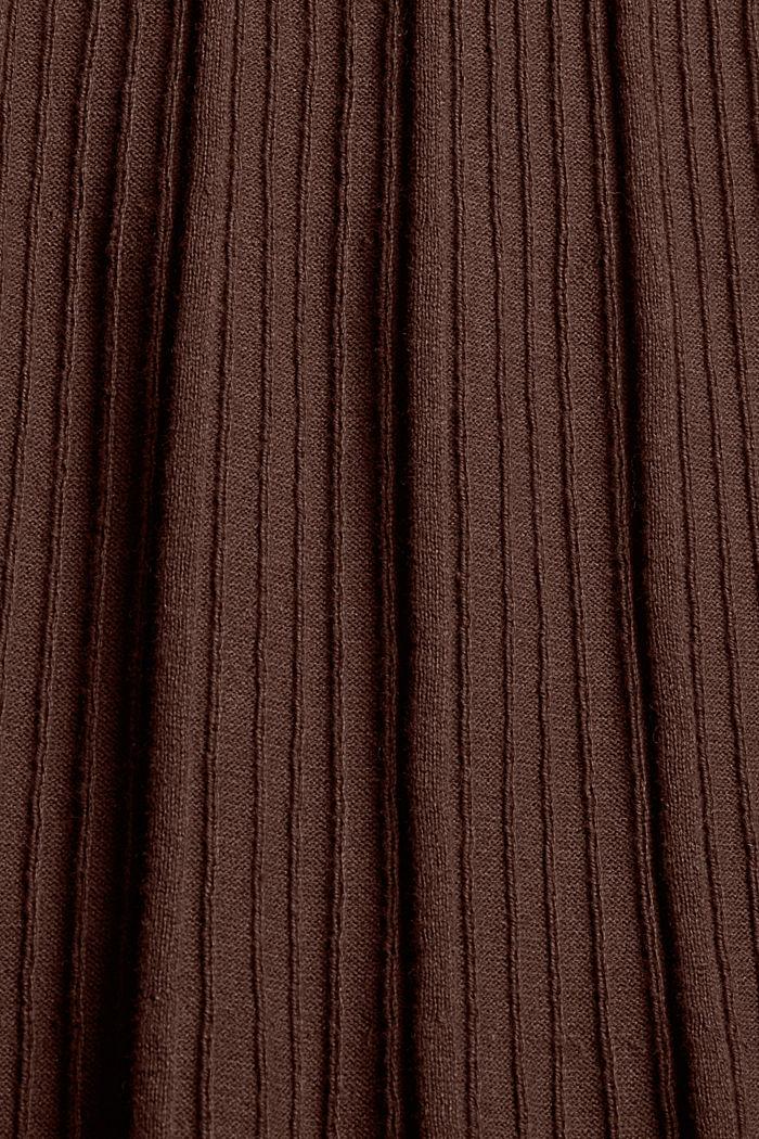 Robe cintrée en maille côtelée, 100% coton, BROWN, detail image number 4