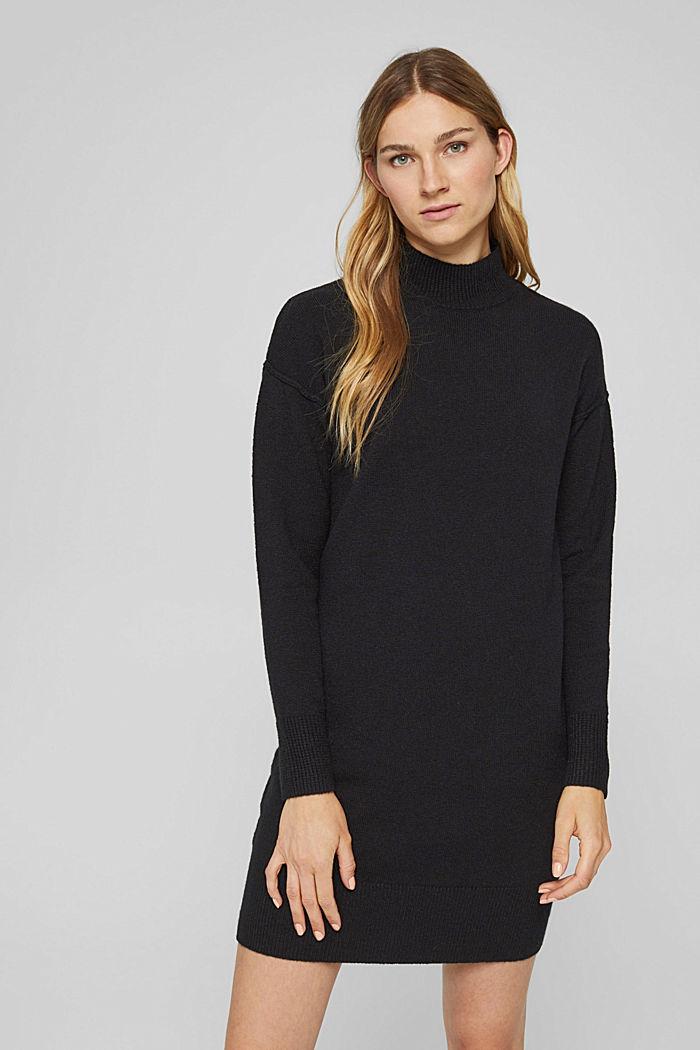 Mit Wolle: Strickkleid mit Drop-down-Schultern, BLACK, detail image number 0