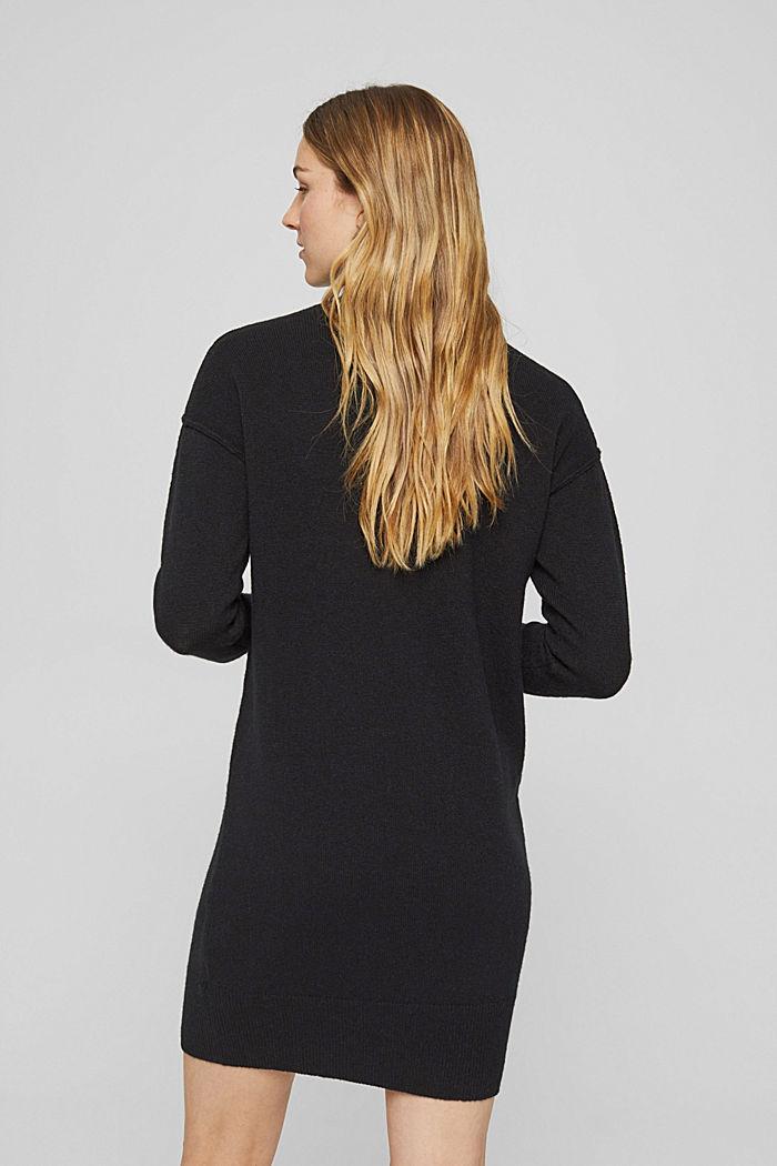 Mit Wolle: Strickkleid mit Drop-down-Schultern, BLACK, detail image number 2