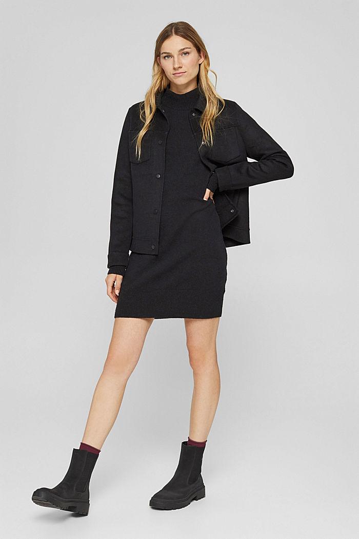 Mit Wolle: Strickkleid mit Drop-down-Schultern, BLACK, detail image number 1