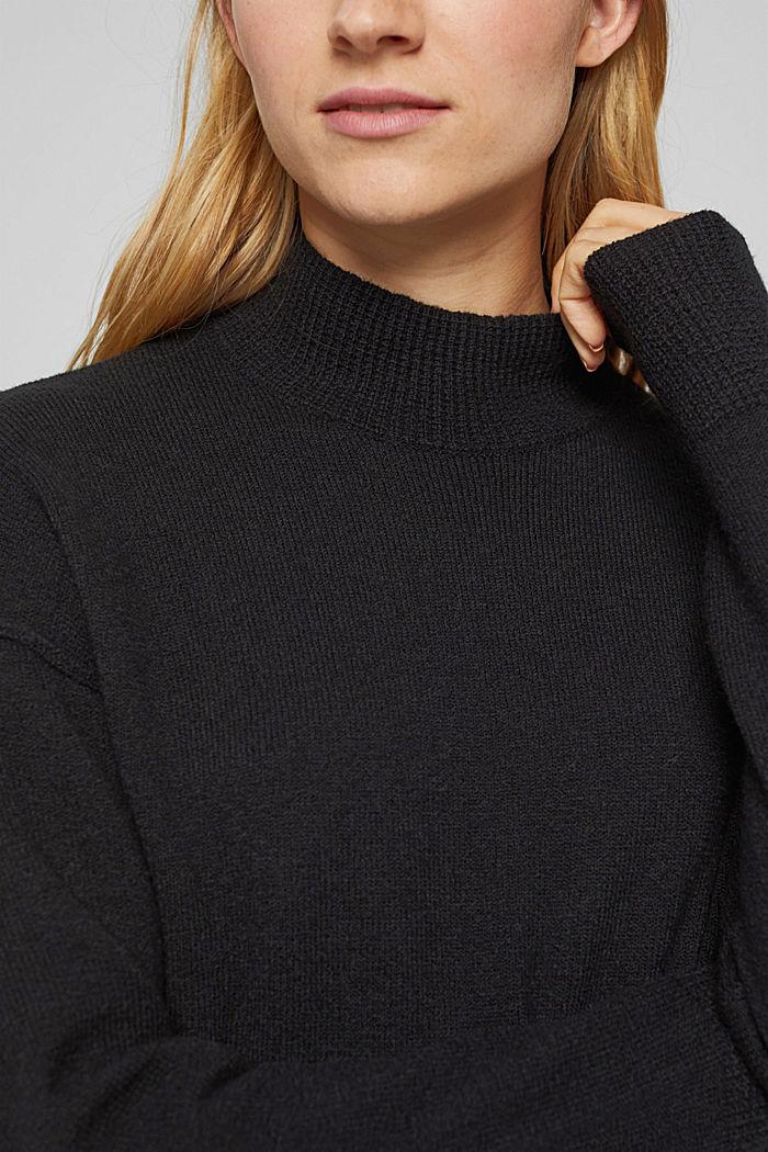Mit Wolle: Strickkleid mit Drop-down-Schultern, BLACK, detail image number 3