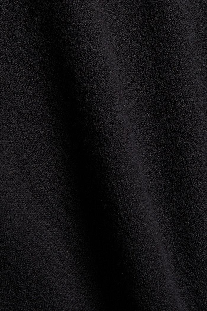 Mit Wolle: Strickkleid mit Drop-down-Schultern, BLACK, detail image number 4