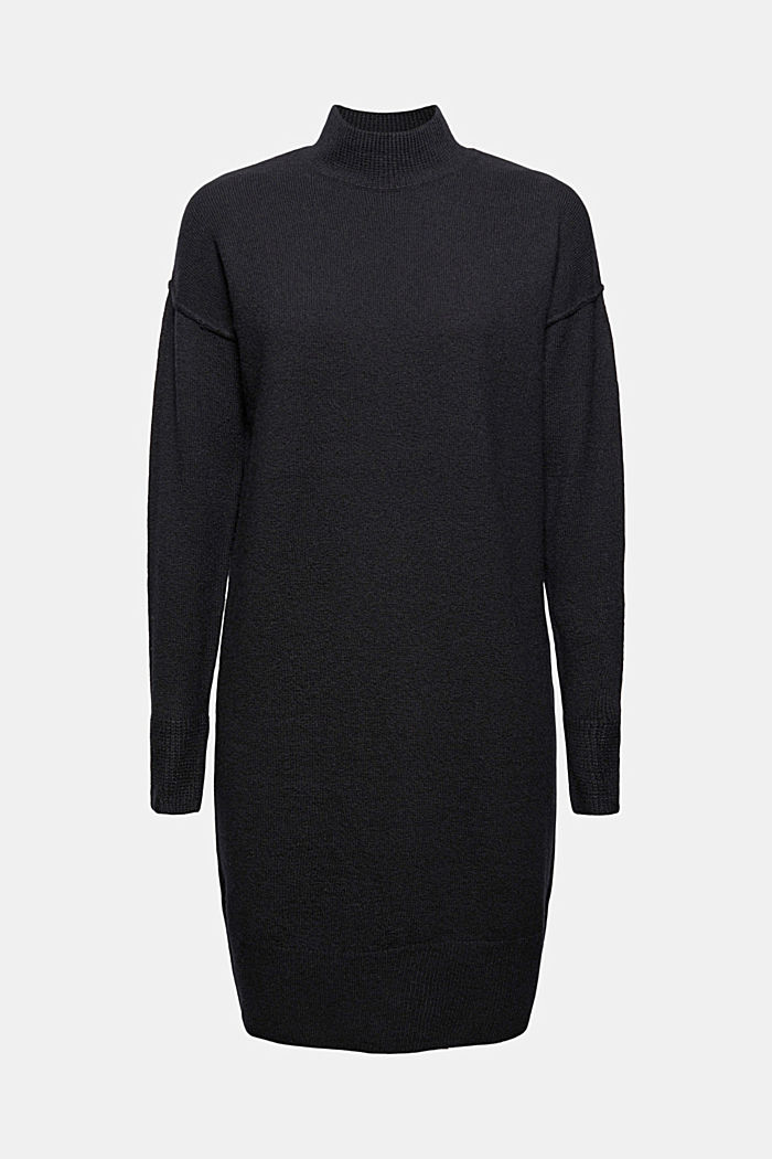 Mit Wolle: Strickkleid mit Drop-down-Schultern, BLACK, detail image number 5