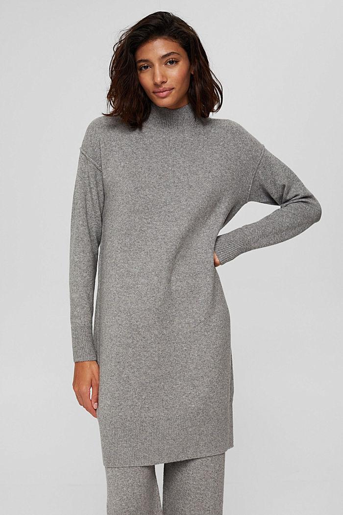 Met wol: gebreide jurk met lager aangezette schouders, MEDIUM GREY, detail image number 0