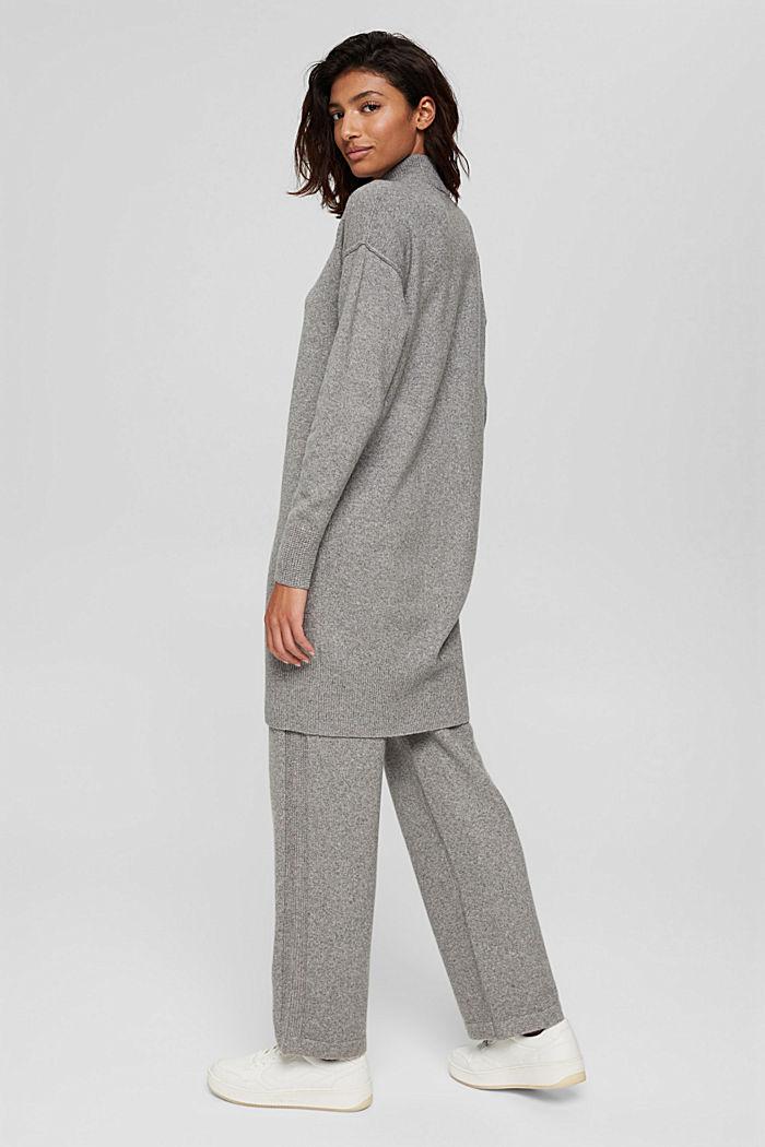 Met wol: gebreide jurk met lager aangezette schouders, MEDIUM GREY, detail image number 2