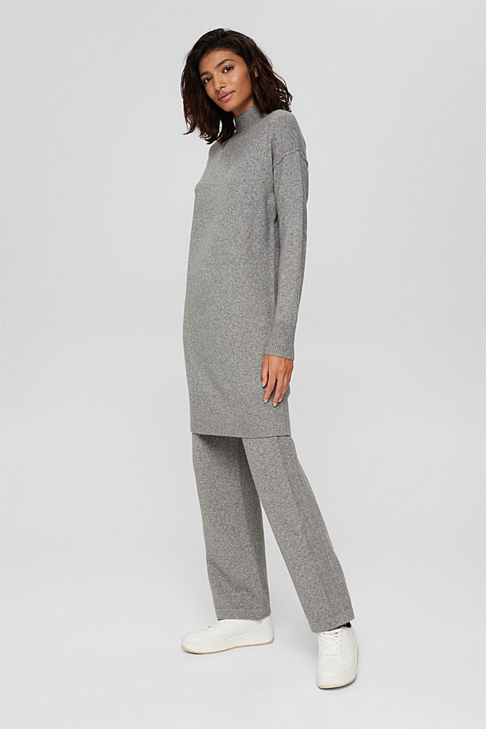 Met wol: gebreide jurk met lager aangezette schouders, MEDIUM GREY, detail image number 1