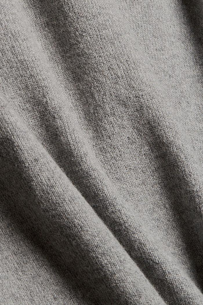 Met wol: gebreide jurk met lager aangezette schouders, MEDIUM GREY, detail image number 4