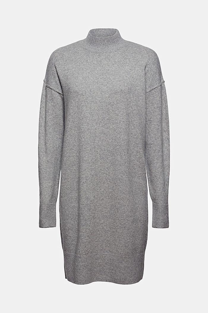 Met wol: gebreide jurk met lager aangezette schouders, MEDIUM GREY, detail image number 6
