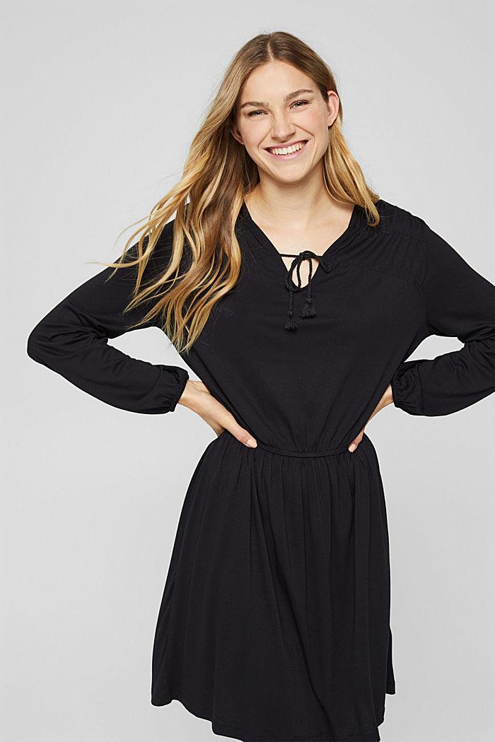 Jerseykleid mit Tasselbändern, LENZING™ ECOVERO™, BLACK, detail image number 0