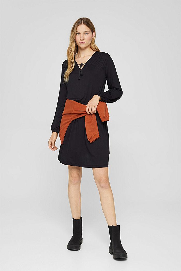 Jerseykleid mit Tasselbändern, LENZING™ ECOVERO™, BLACK, detail image number 1