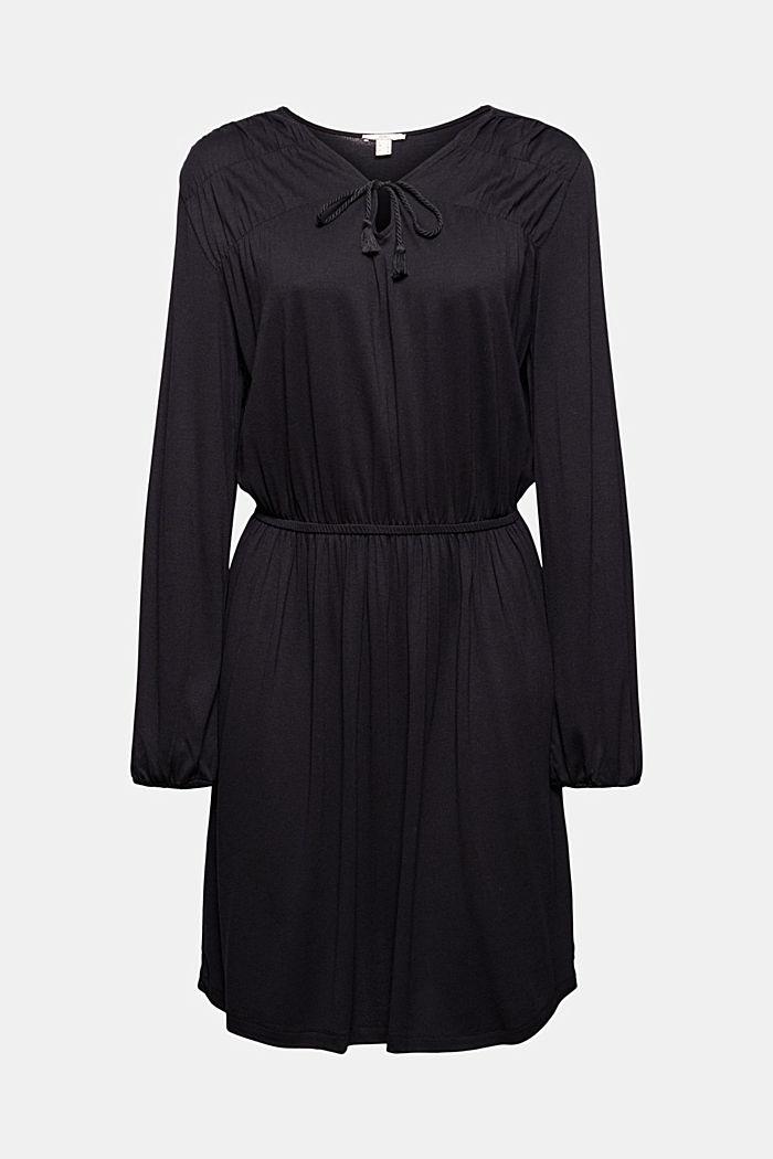 Jerseykleid mit Tasselbändern, LENZING™ ECOVERO™, BLACK, detail image number 6