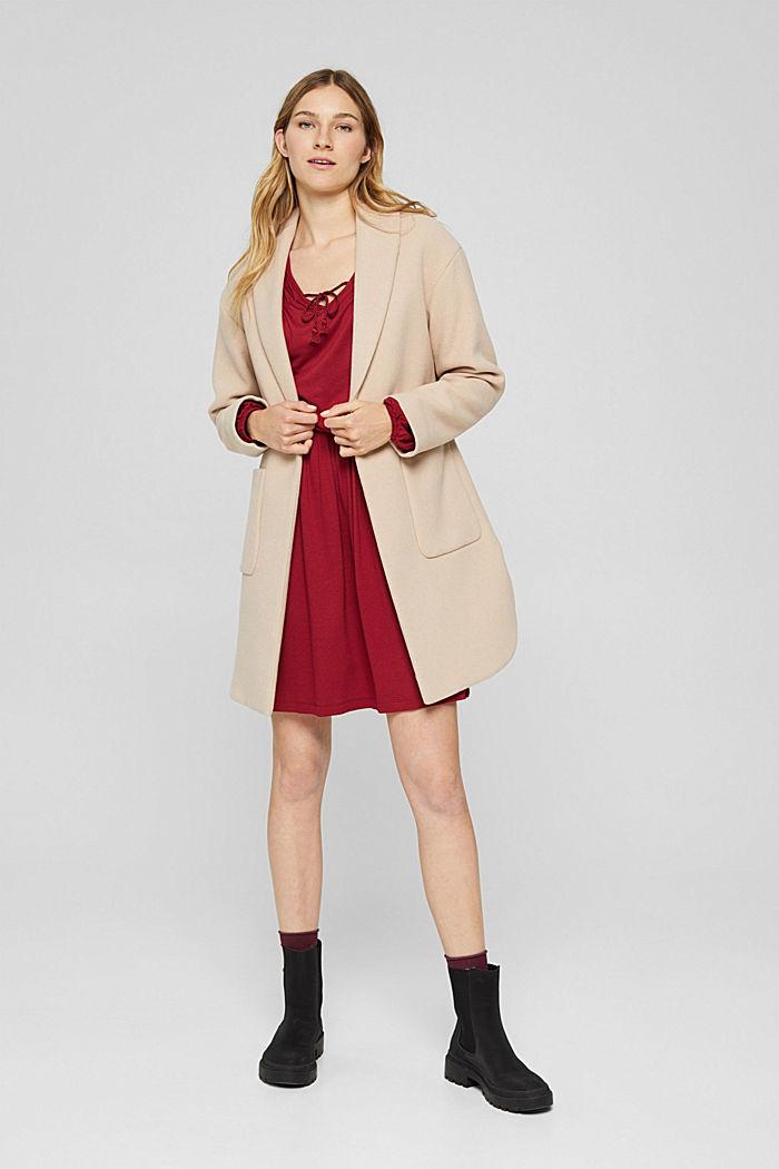 Jerseykleid mit Tasselbändern, LENZING™ ECOVERO™, DARK RED, detail image number 1