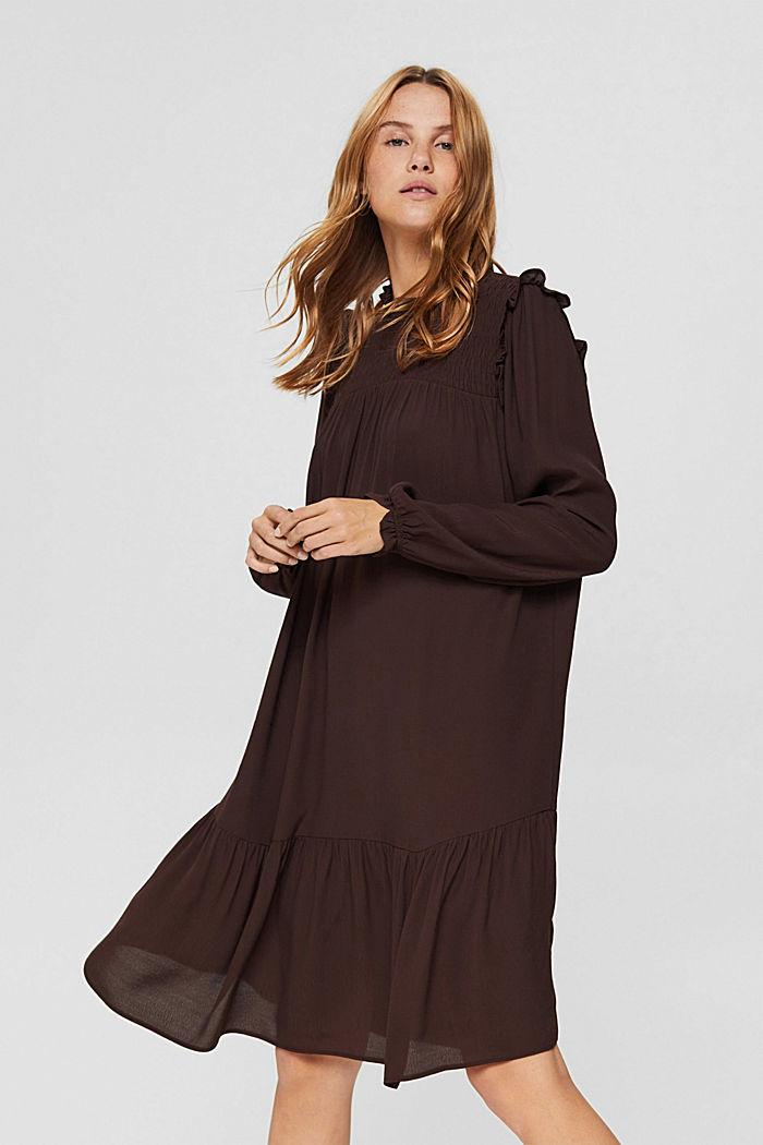 Kleid mit Rüschen, LENZING™ ECOVERO™, BROWN, detail image number 0