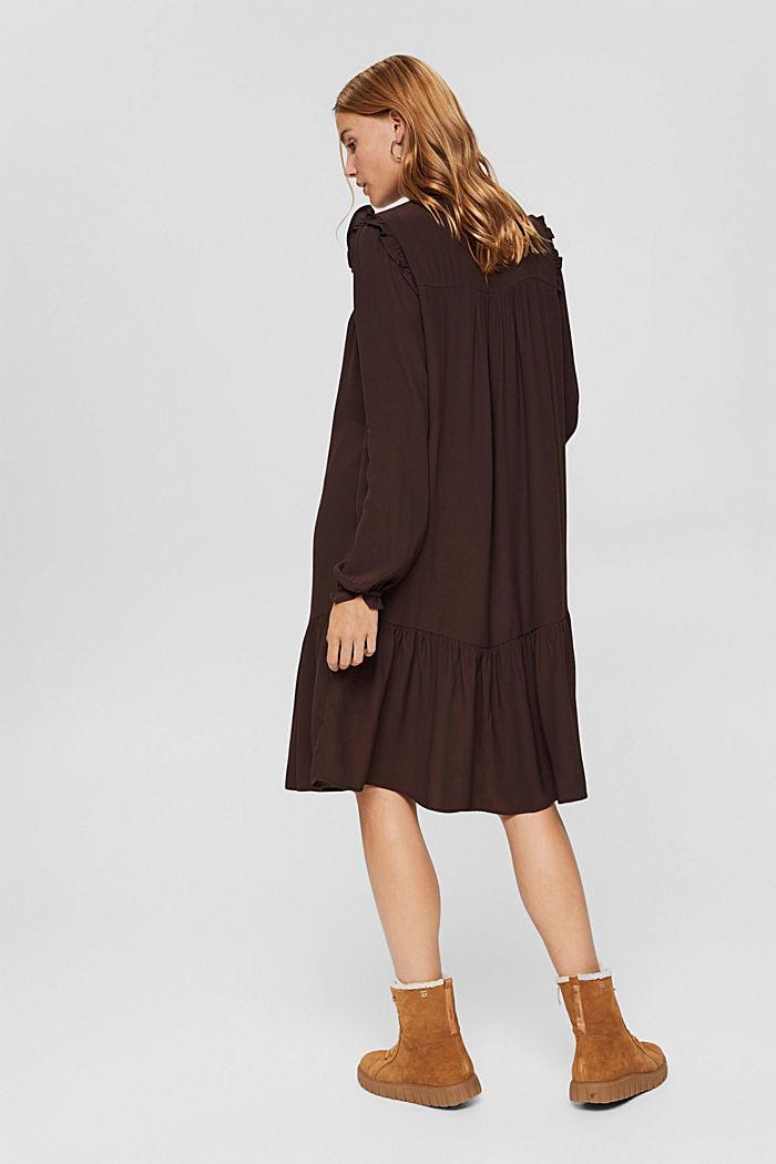 Kleid mit Rüschen, LENZING™ ECOVERO™, BROWN, detail image number 2