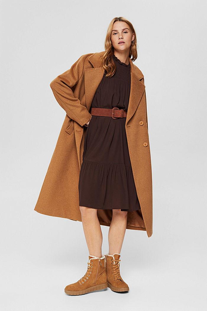 Kleid mit Rüschen, LENZING™ ECOVERO™, BROWN, detail image number 1