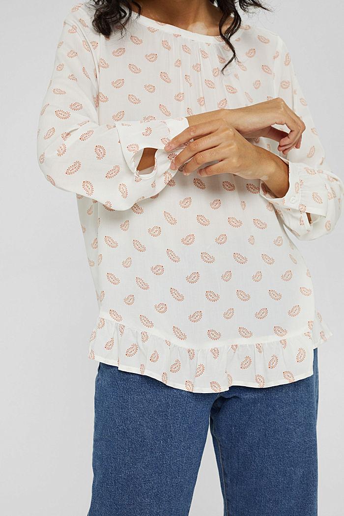 Print-Bluse mit Rüschen, LENZING™ ECOVERO™, OFF WHITE, detail image number 2