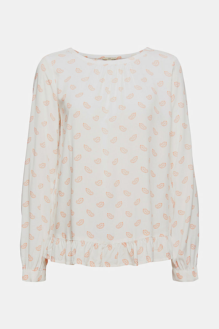 Print-Bluse mit Rüschen, LENZING™ ECOVERO™, OFF WHITE, detail image number 6