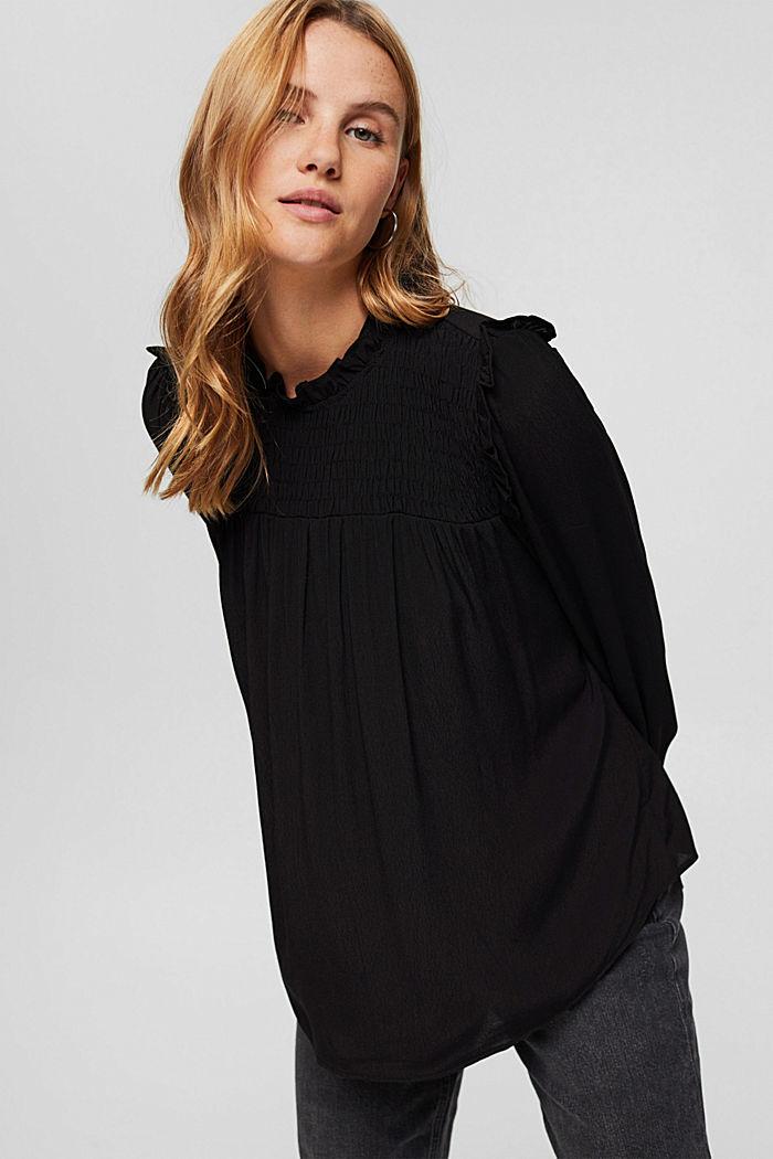 Smok-Bluse mit LENZING™ ECOVERO™, BLACK, detail image number 0