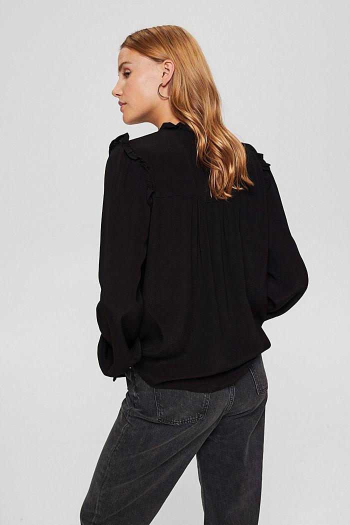 Smok-Bluse mit LENZING™ ECOVERO™, BLACK, detail image number 3