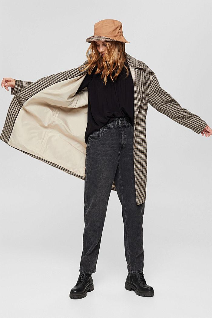 Smok-Bluse mit LENZING™ ECOVERO™, BLACK, detail image number 1