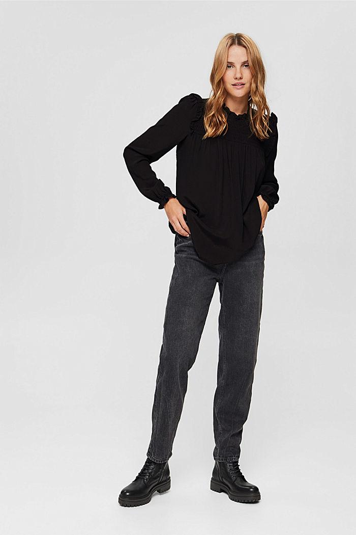 Smok-Bluse mit LENZING™ ECOVERO™, BLACK, detail image number 6