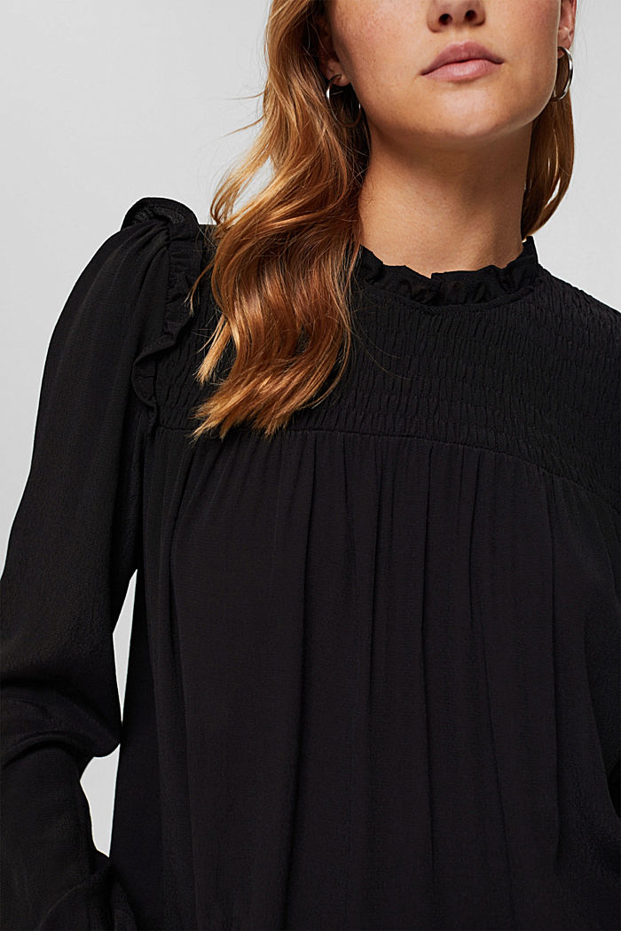 Smok-Bluse mit LENZING™ ECOVERO™, BLACK, detail image number 2