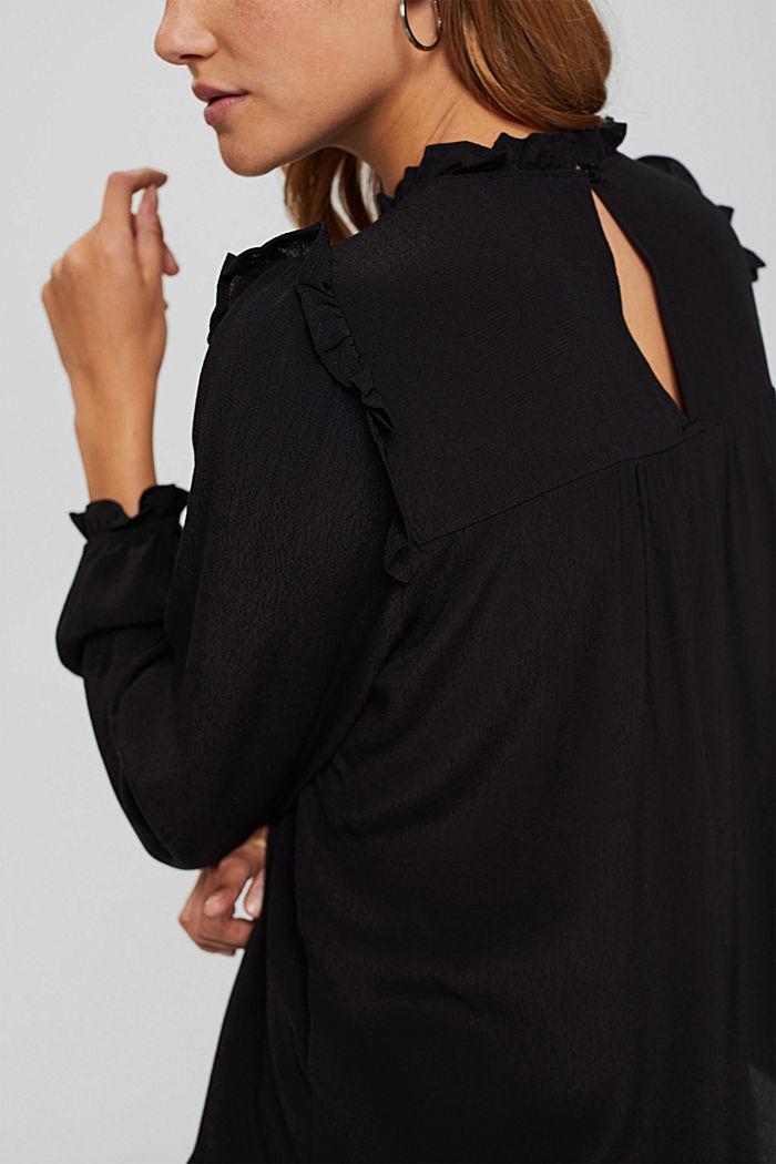 Smok-Bluse mit LENZING™ ECOVERO™, BLACK, detail image number 5