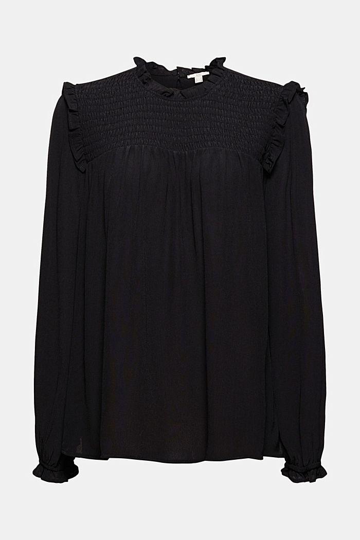 Smok-Bluse mit LENZING™ ECOVERO™, BLACK, detail image number 7