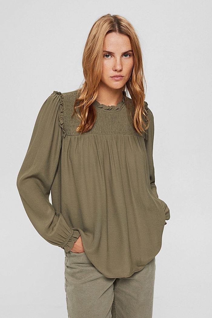 Gesmokte blouse met LENZING™ ECOVERO™, DARK KHAKI, detail image number 0