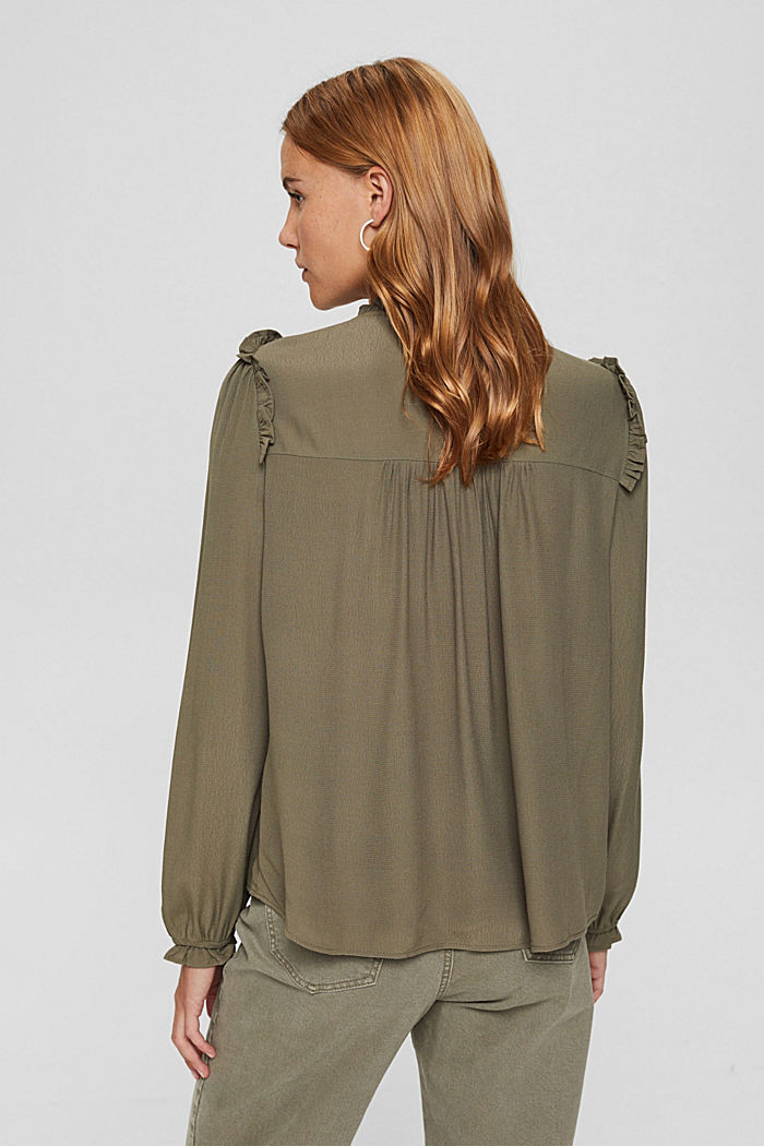 Gesmokte blouse met LENZING™ ECOVERO™, DARK KHAKI, detail image number 3
