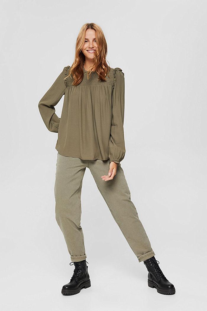 Gesmokte blouse met LENZING™ ECOVERO™, DARK KHAKI, detail image number 7