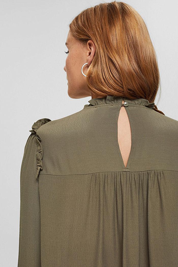 Gesmokte blouse met LENZING™ ECOVERO™, DARK KHAKI, detail image number 5