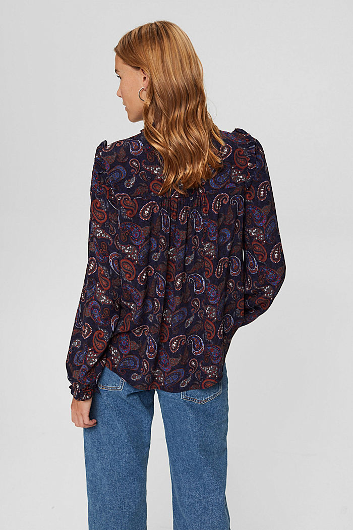 Smocked blouse with a paisley print, LENZING™ ECOVERO™, NAVY, detail image number 3