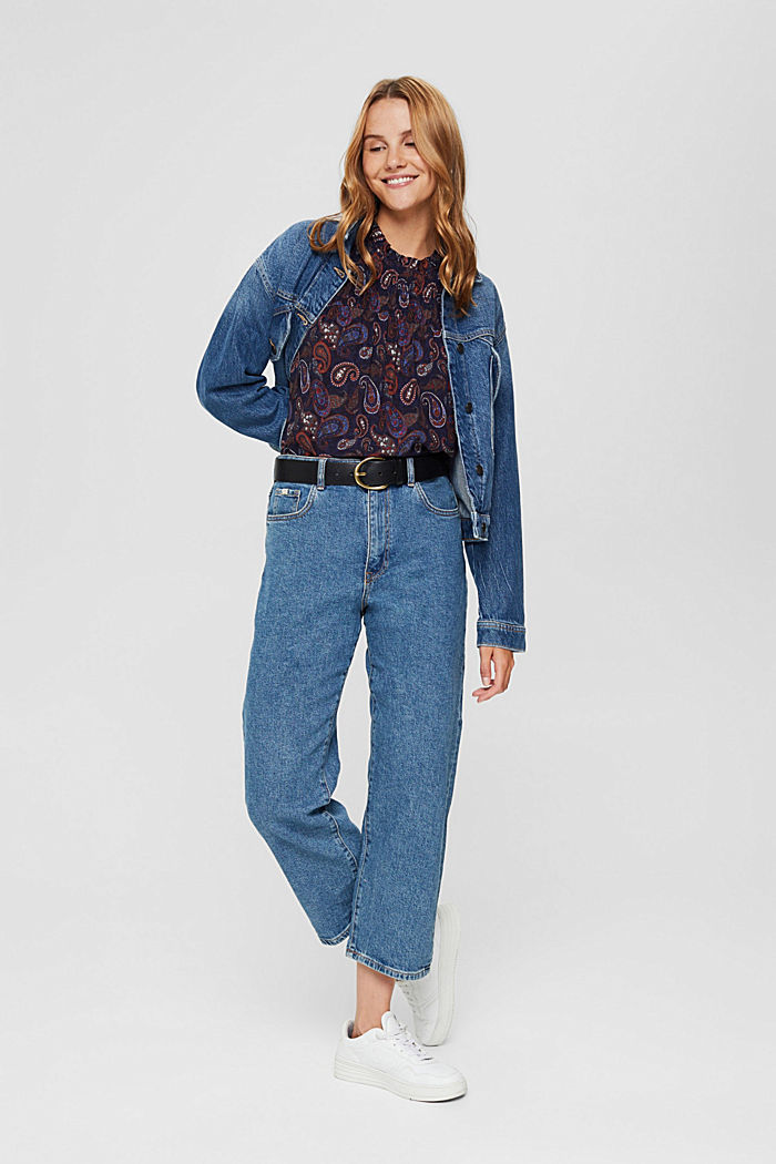 Smocked blouse with a paisley print, LENZING™ ECOVERO™, NAVY, detail image number 1