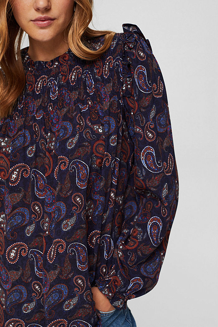 Smocked blouse with a paisley print, LENZING™ ECOVERO™, NAVY, detail image number 2