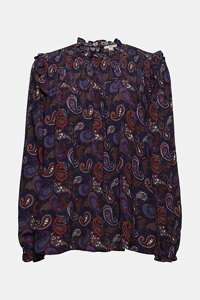 Smok-Bluse mit Paisley-Print, LENZING™ ECOVERO™