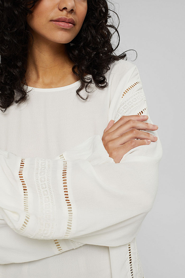 Blouse with broderie anglaise made of LENZING™ ECOVERO™, OFF WHITE, detail image number 2
