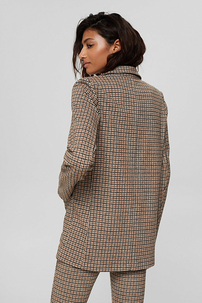 Relaxed check blazer with a flannel texture, BEIGE, detail image number 3
