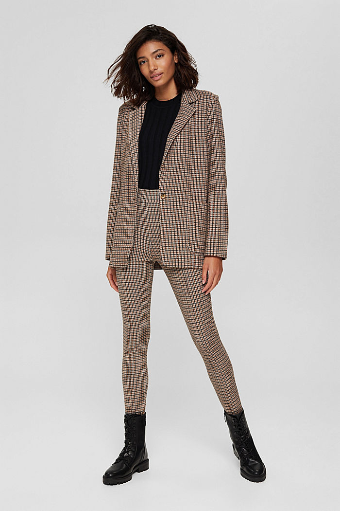 Relaxed check blazer with a flannel texture, BEIGE, detail image number 1