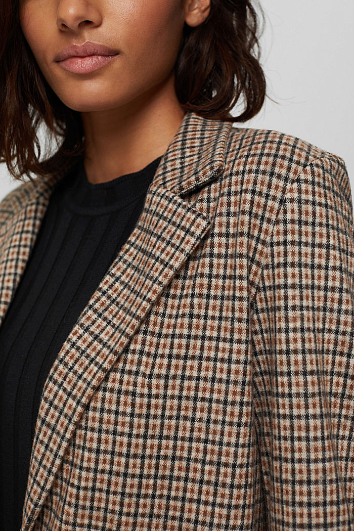 Relaxed check blazer with a flannel texture, BEIGE, detail image number 2