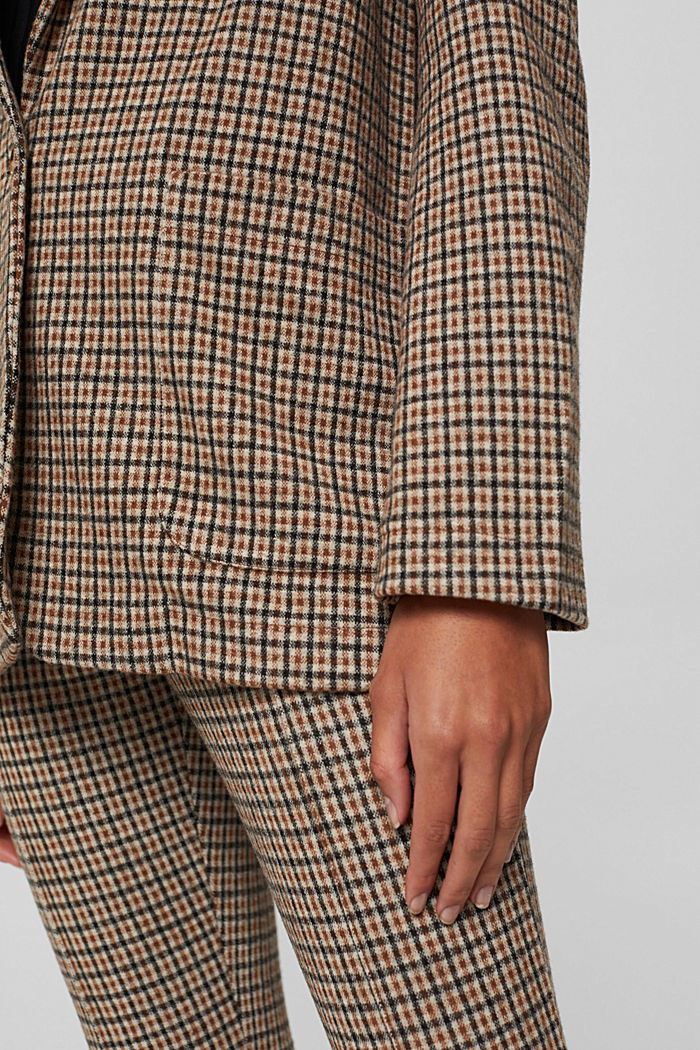 Relaxed check blazer with a flannel texture, BEIGE, detail image number 5