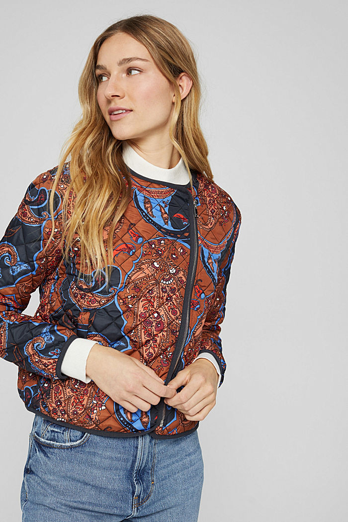 Recycelt: leichte Steppjacke mit Paisleyprint, NAVY, detail image number 0