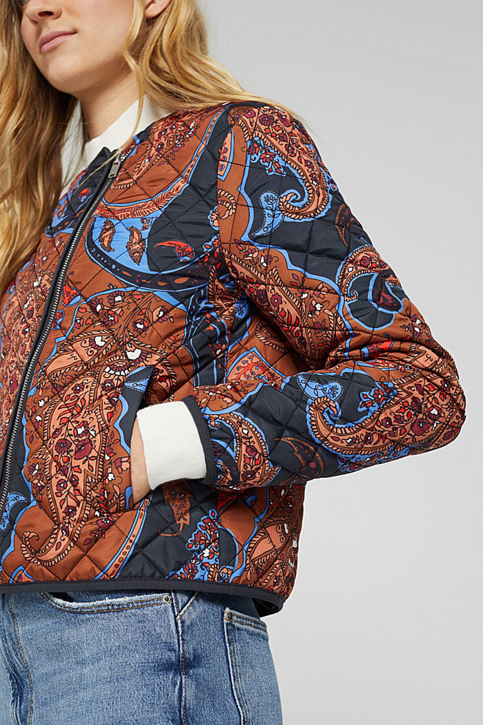 Recycelt: leichte Steppjacke mit Paisleyprint, NAVY, detail image number 2