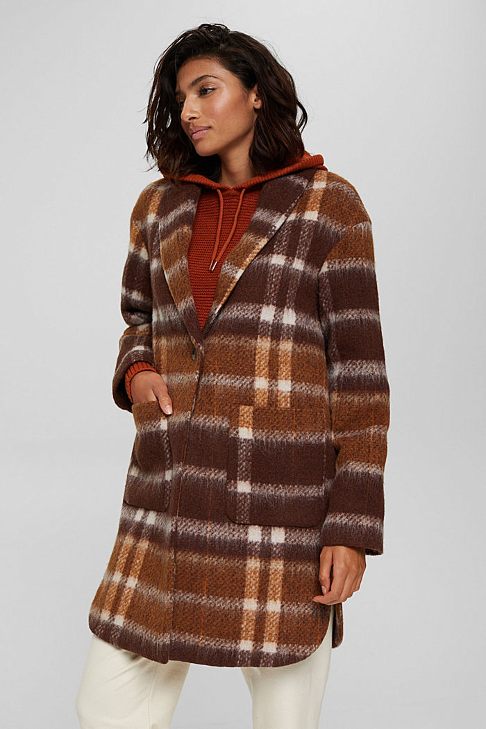 Met gerecycled wol: geruite mantel, BROWN, detail image number 0