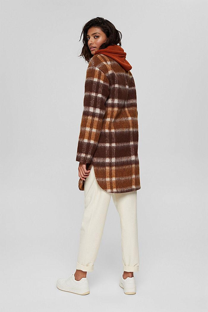 Met gerecycled wol: geruite mantel, BROWN, detail image number 3