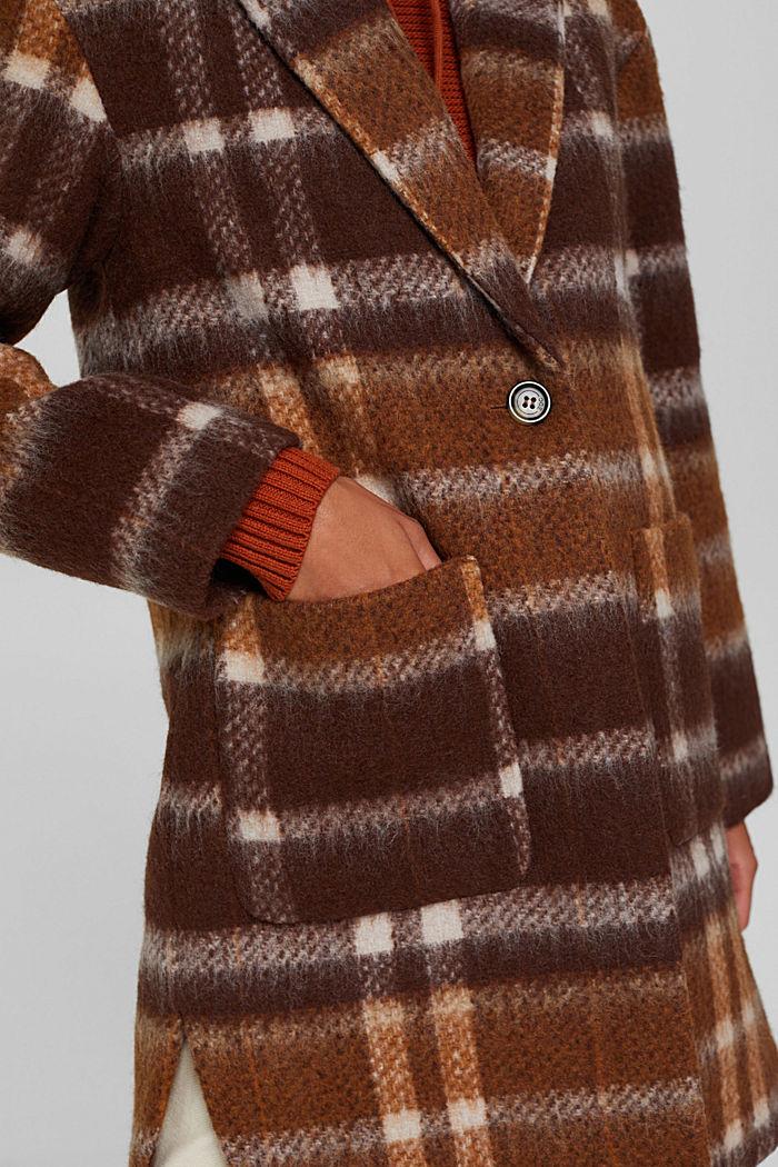 Met gerecycled wol: geruite mantel, BROWN, detail image number 2