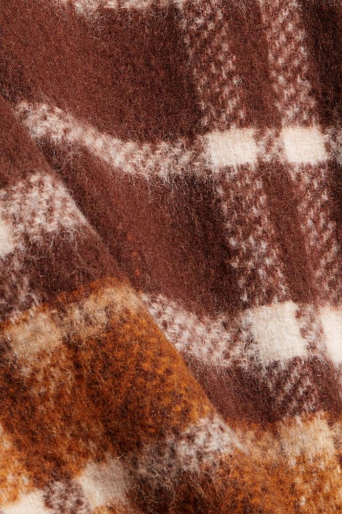 Met gerecycled wol: geruite mantel, BROWN, detail image number 4