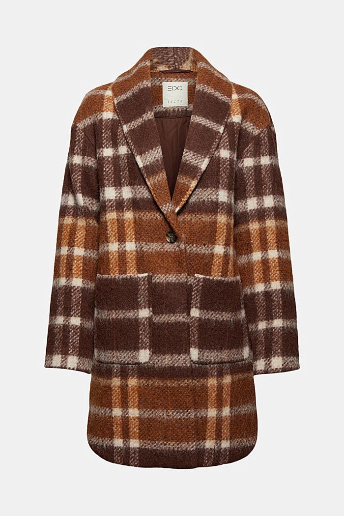 Met gerecycled wol: geruite mantel, BROWN, detail image number 6