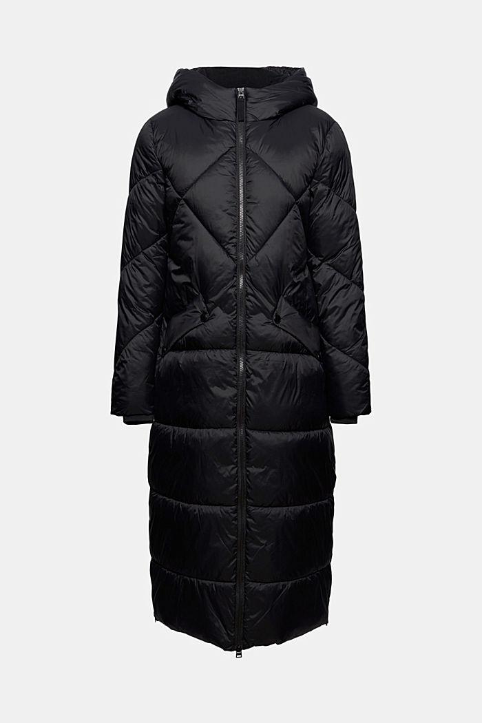 Z recyklingu: pikowany płaszcz z kapturem